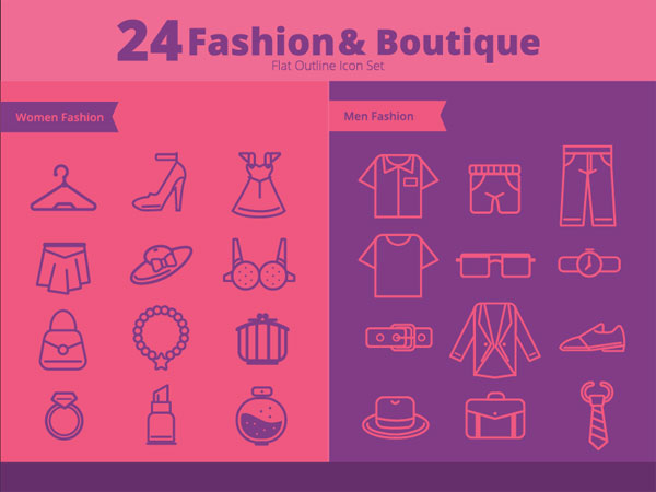 Fashion And Boutique Outline Icons
