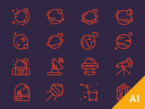 Free Space Icons - Ai