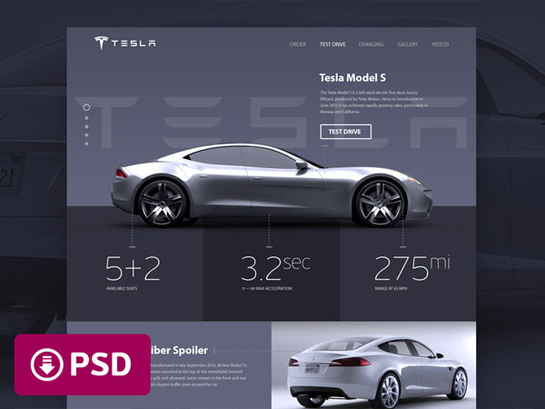 Tesla Website Concept - Free PSD