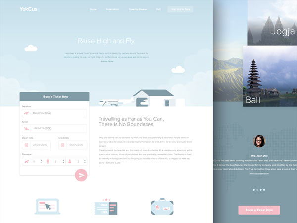 YukCus - Free Booking Flight Template