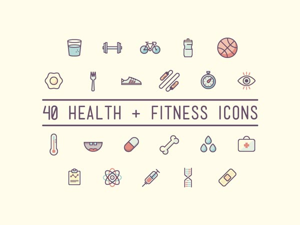 40 Health & Fitness Icons