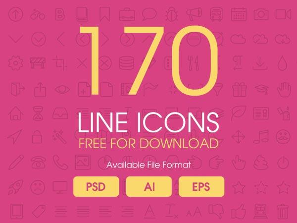 170 Line Icons Set