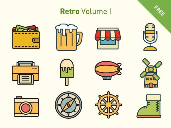 120 Retro Icons Set - Vol. 1