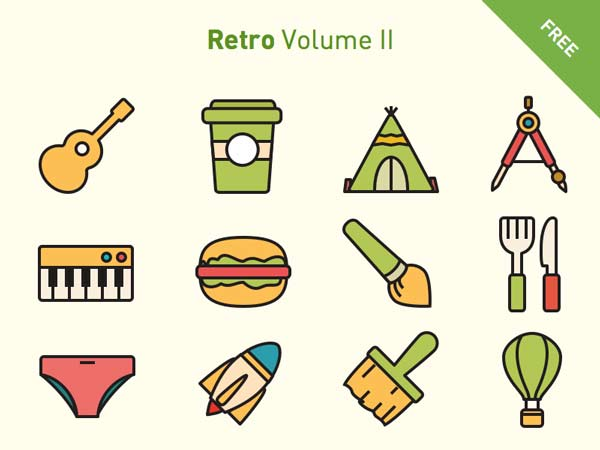 150 Retro Icons Set – Vol. 2