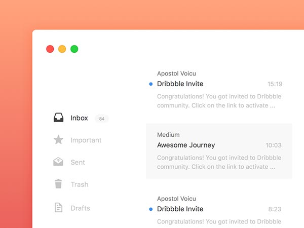 Mail App - Sketch Freebie