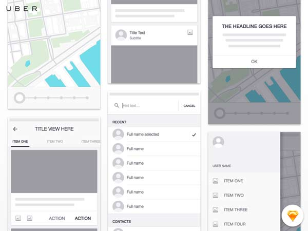 Uber for iOS Wireframe Kit