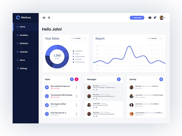 Merkury - Dashboard PSD Template