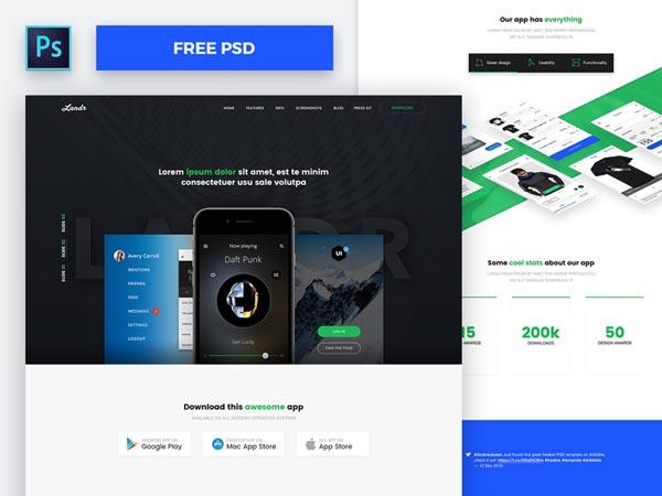 Landr - Responsive Website PSD Template