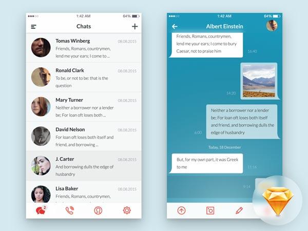 Messaging App UI - Sketch Freebie