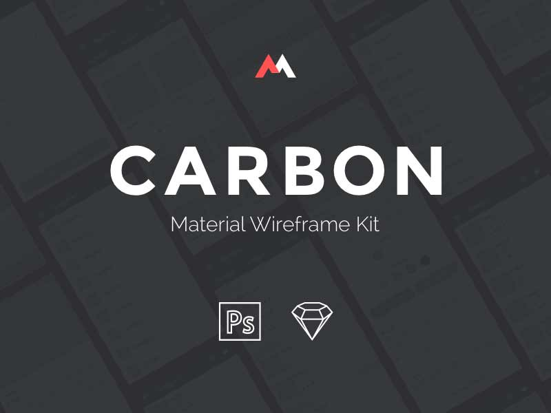 Carbon: Material Wireframe UI kit