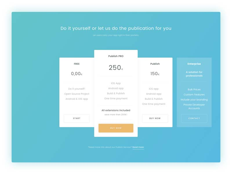 Modern Pricing Table - Sketch Freebie