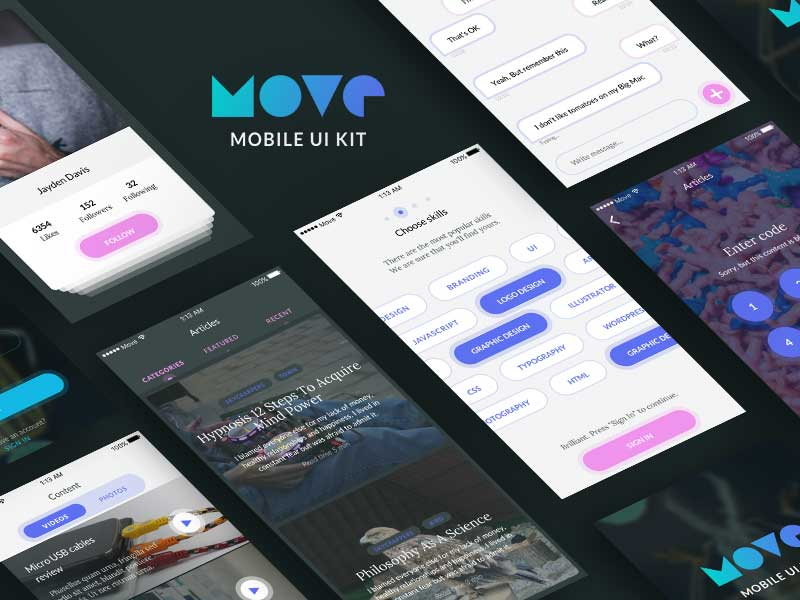 Move - Mobile UI Kit for Sketch