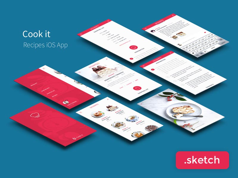 Cook It: Recipes App - Sketch UI Kit