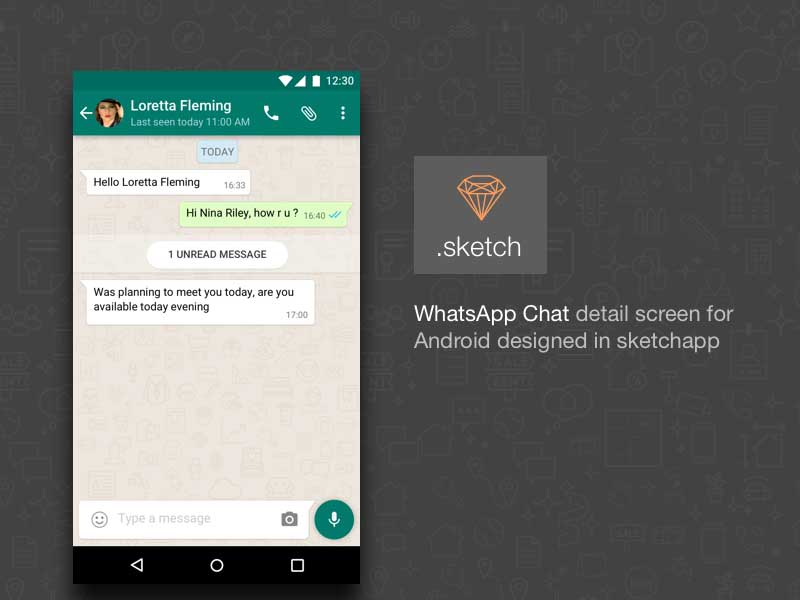 Android WhatsApp Chat UI - Sketch