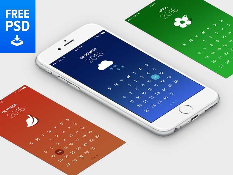 Calendar iOS App - Free PSD