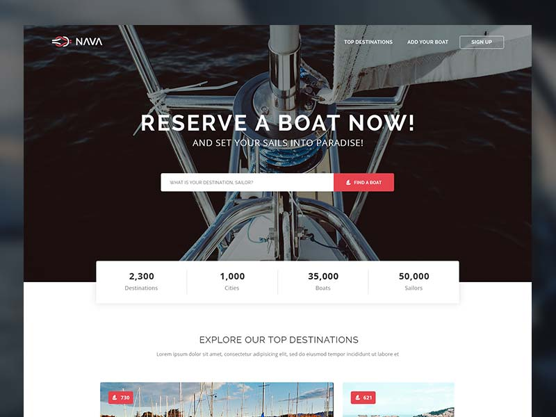 Nava - Sailing Boats Website Template