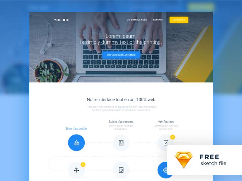 free landing page template sketch designermill