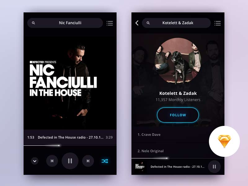 Music Player App - Sketch Freebie