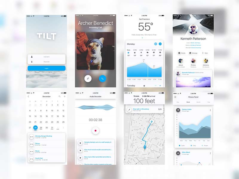 Tilt - UI Kit for Sketch and Pixate