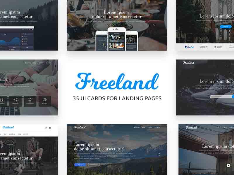 Freeland - Landing Page UI Cards
