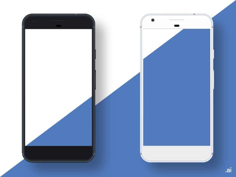 Google Pixel Black / White PSD Mockups