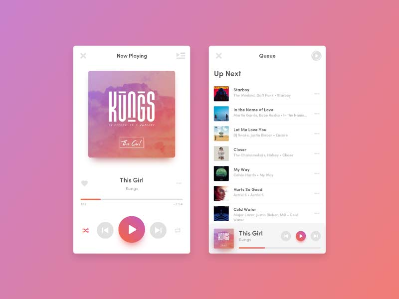 Music Player App - Sketch Freebie