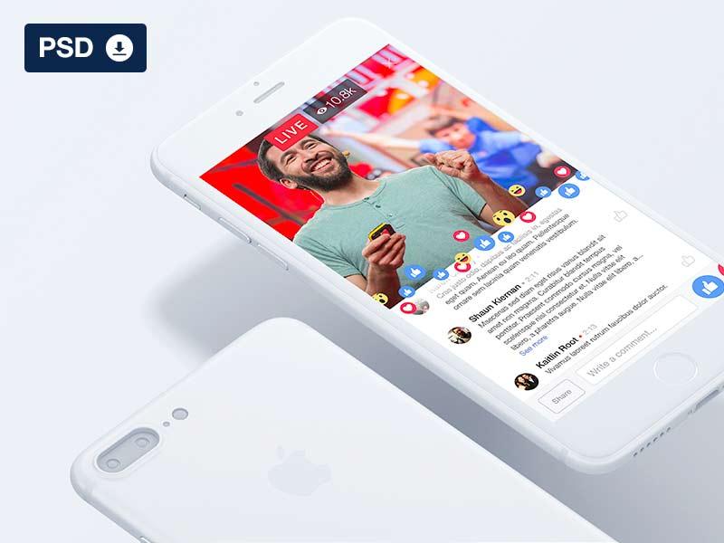 Facebook Live UI - Free PSD