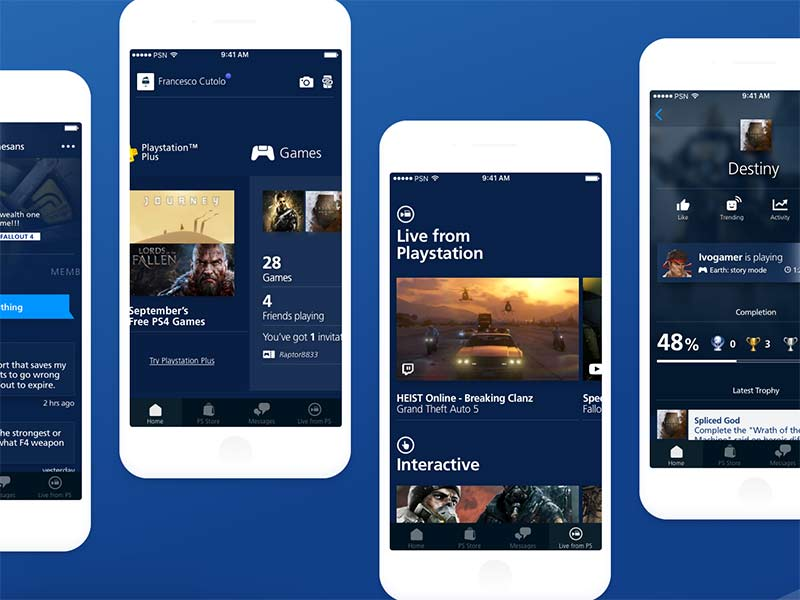 PlayStation App Concept - Sketch UI Kit