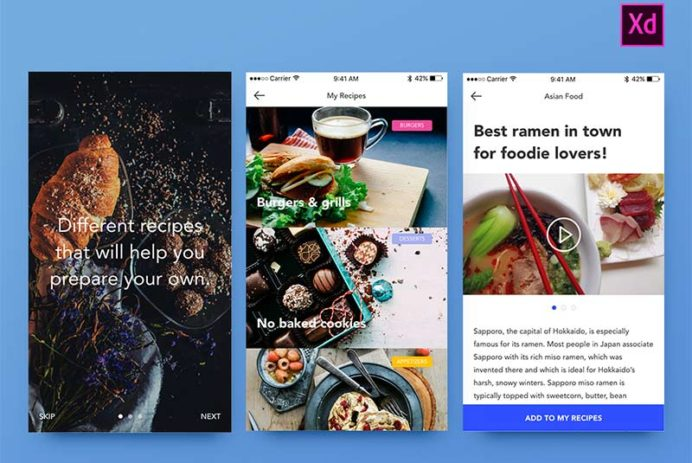 Foodies Adobe Xd UI Kit
