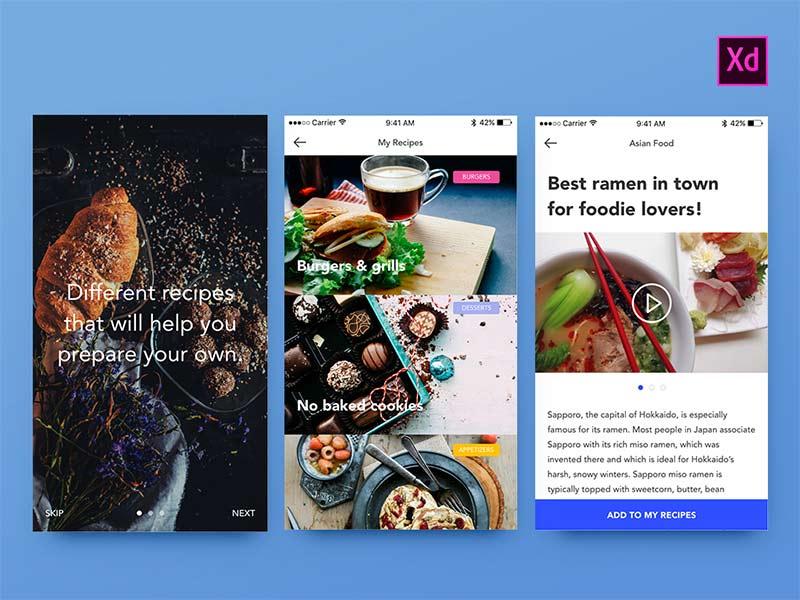 Foodies Adobe Xd UI Kit
