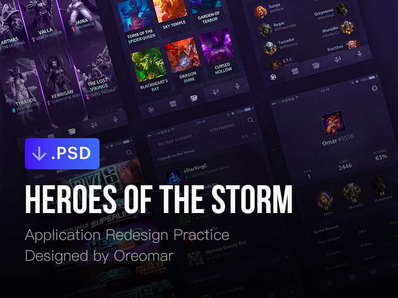 Heroes of the Storm App Concept - Free PSD