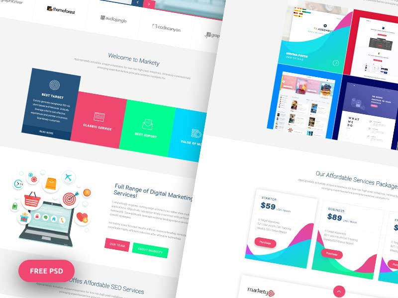 markety website psd template designermill