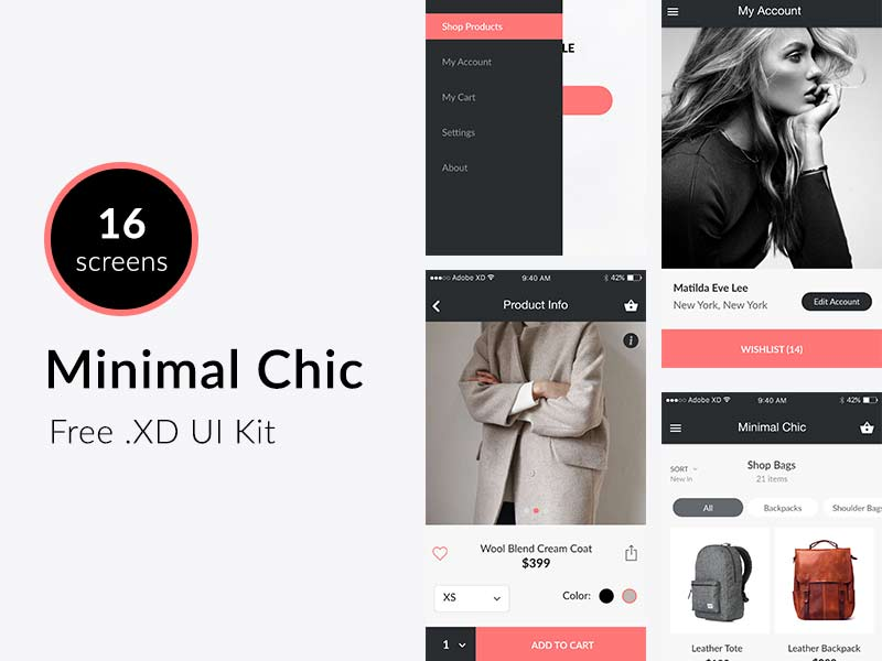 Minimal Chic - Adobe Xd UI Kit