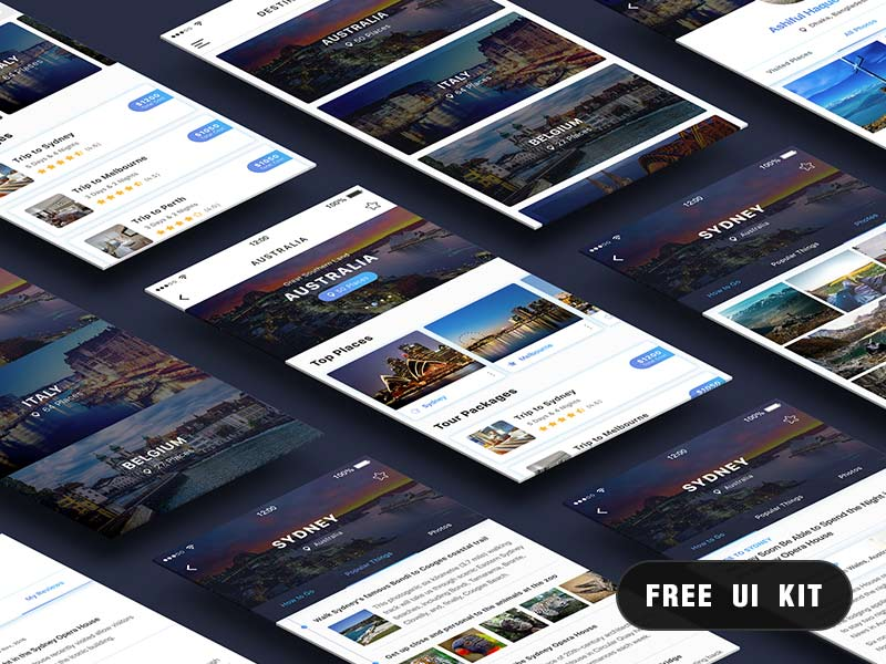 Travel UI Kit - Photoshop Freebie