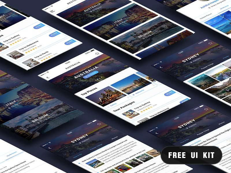Travel UI Kit - Photoshop Freebie
