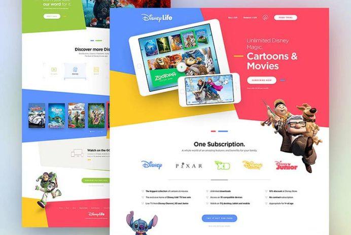 Disney Life - Landing Page PSD Template