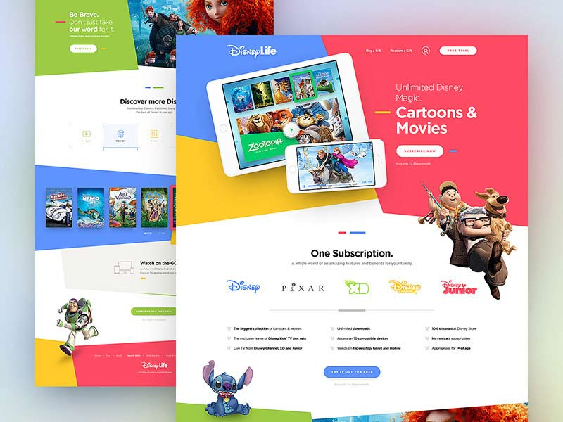 Disney Life - Landing Page PSD Template