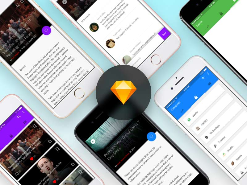News App UI Kit for Sketch