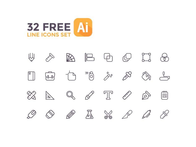 32 Free Line Icons