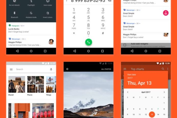 Android Nougat Free UI Kit for Photoshop and Sketch