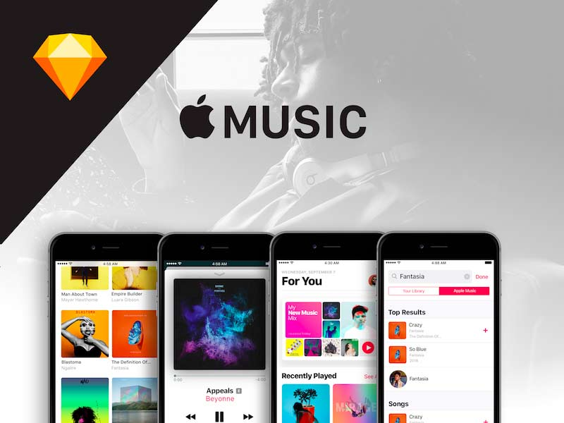 Apple Music UI Kit for Sketch