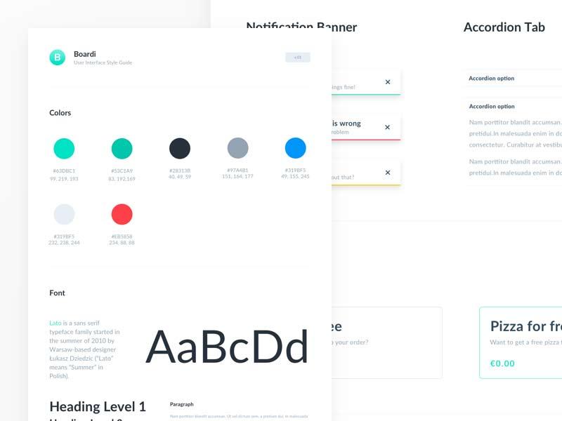 Boardi - Free Sketch UI Kit