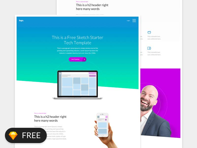 Landing Page Template for Sketch