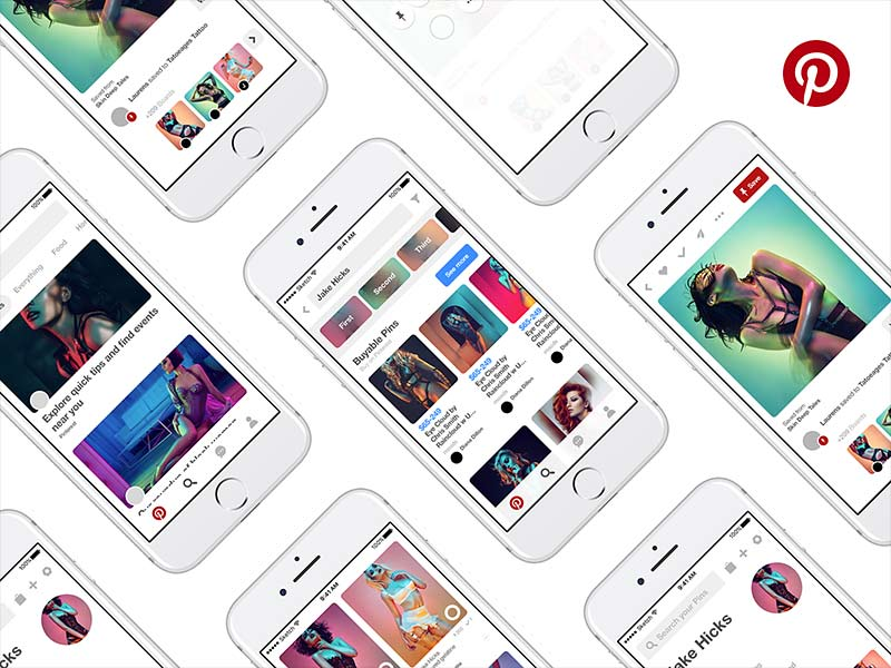 Pinterest App UI Kit for Sketch