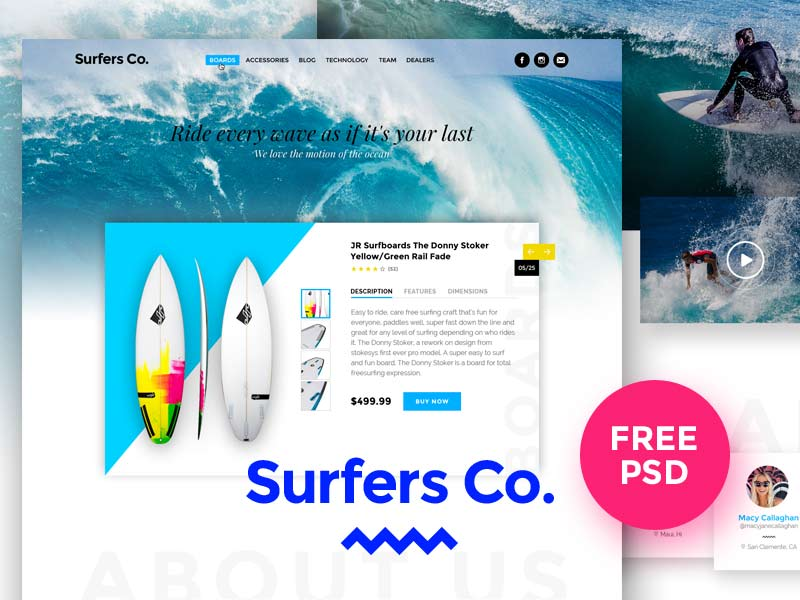 Surfers Co. - Website PSD Template