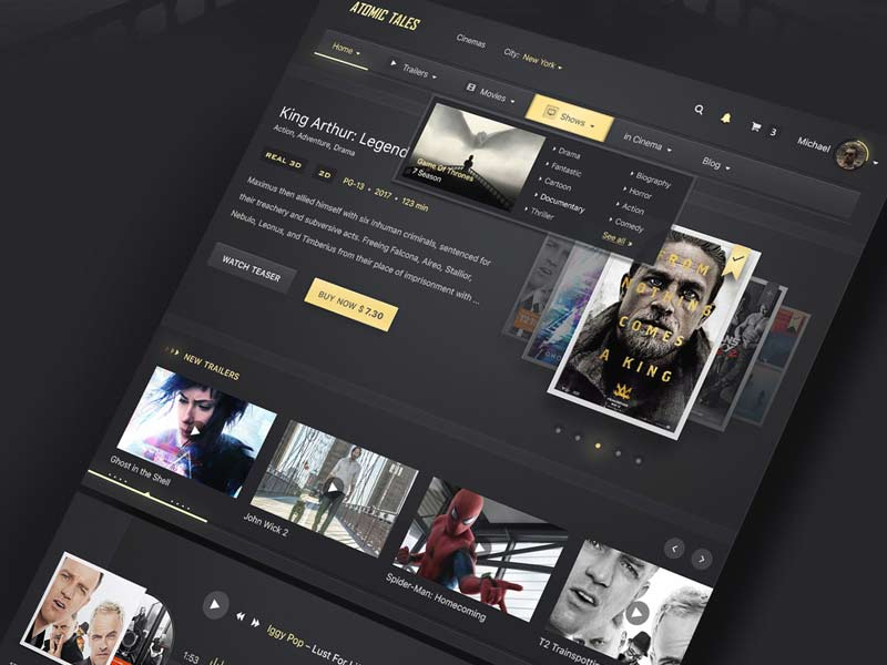 Atomic Tales - Cinema Website PSD Template