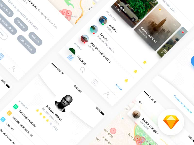 Disease Finder - App UI Kit for Sketch