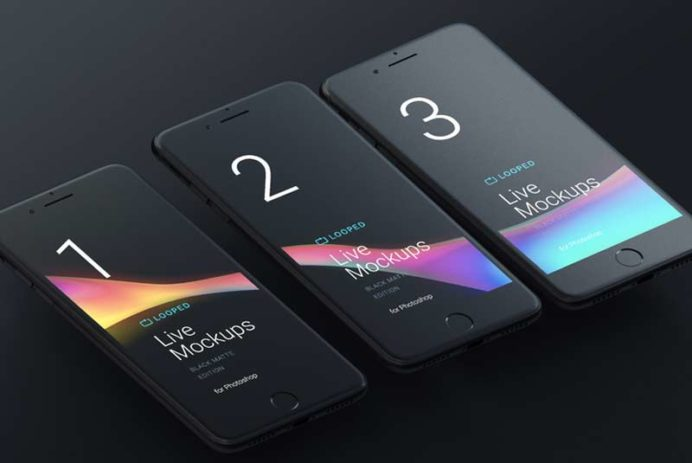 Apple Devices Black Matte Mockups for Sketch and Photoshop