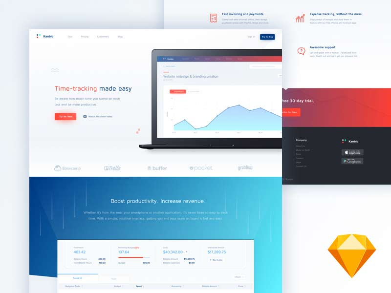 Kanbio Landing Page Template for Sketch