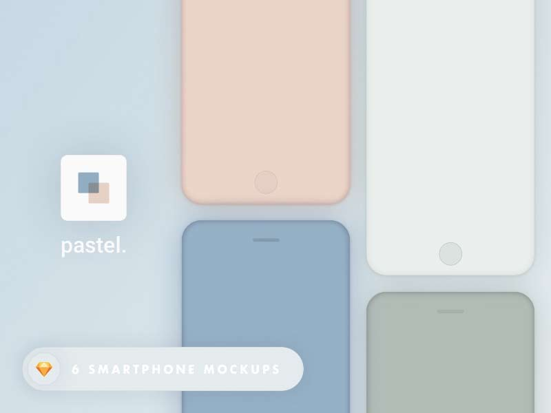 Pastel - Colored iPhone Mockups